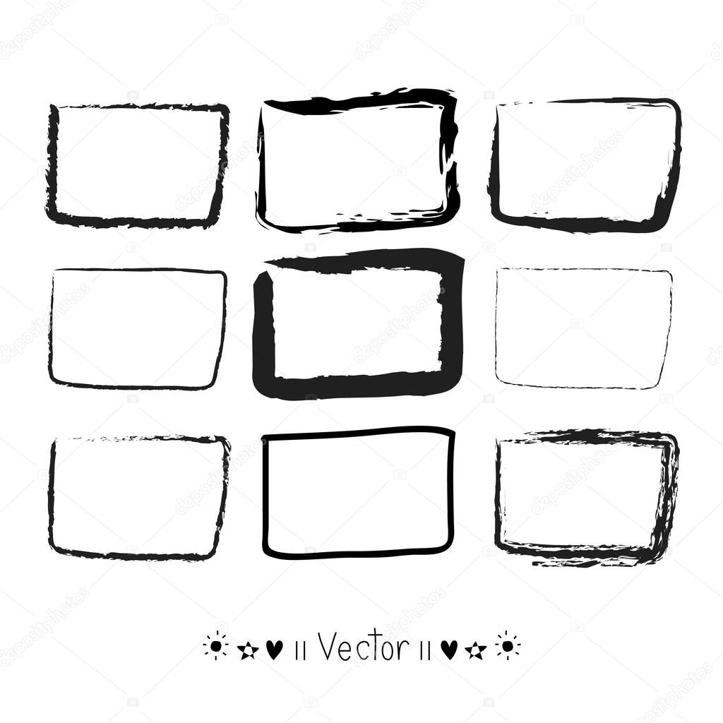 vector set hand drawn rectangle felt tip pen objects text box and