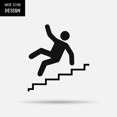Vector Slippery stairs warning sign illustration isolated on white background