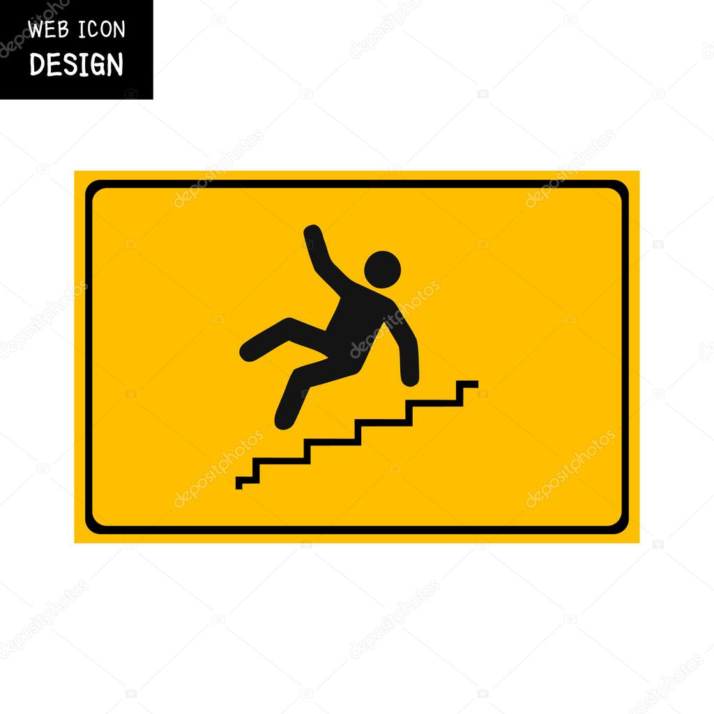 vector slippery stairs warning sign illustration isolated on yellow
