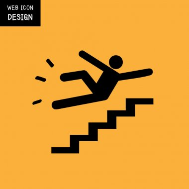 Vector Slippery stairs warning sign illustration isolated on yellow background