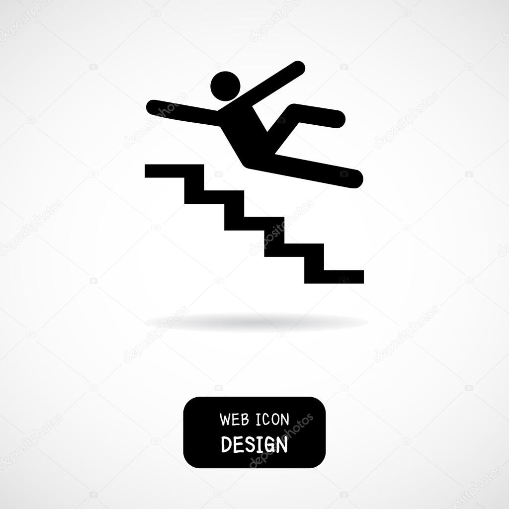 Vector Slippery Stairs Warning Sign Illustration Isolated On White  Background U2014 Stock Vector