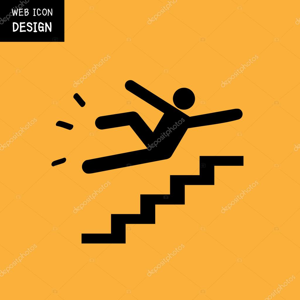 Vector Slippery Stairs Warning Sign Illustration Isolated On Yellow  Background U2014 Stock Vector