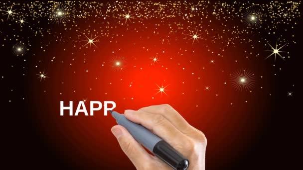 Animált üdvözlet a Boldog Új Évet 2021 kézzel rajzolt. Motion Graphic.4K videó állásfoglalás.