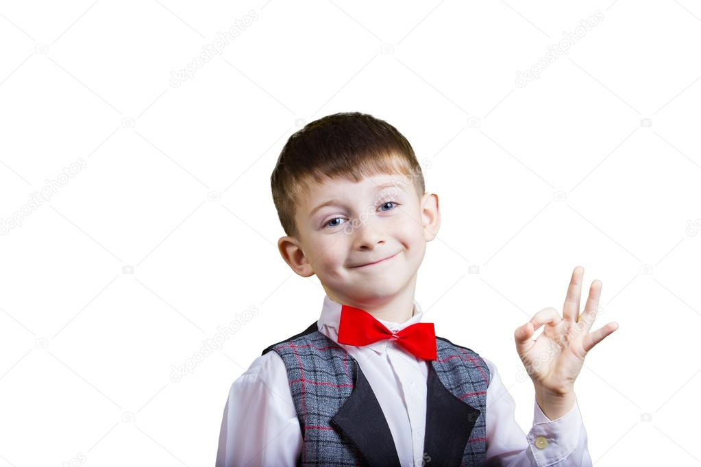 ab0ce73a66 Little boy making Ok sign over yellow background — Stock Photo ...