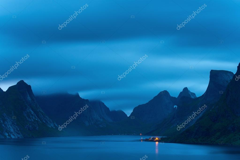 Great mountains in the night. Lofotens, Norway