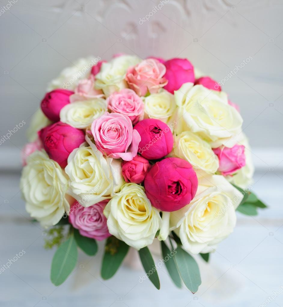 Beautiful Wedding Flower Bouquet For Bride Stock Photo