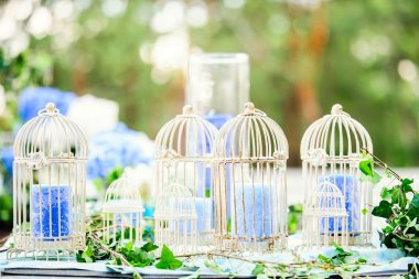 Wedding decor with birdcages and candles