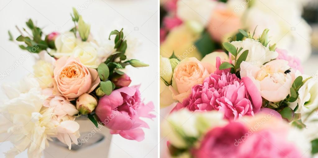 floral arrangement of peonies and roses