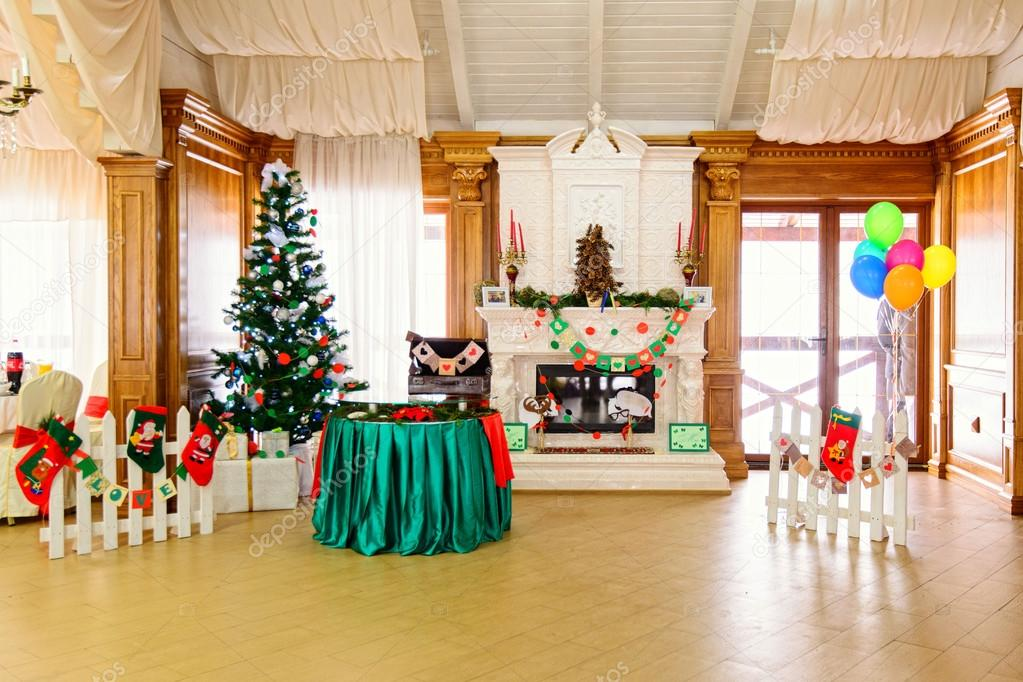 decorated place in the restaurant in Christmas time