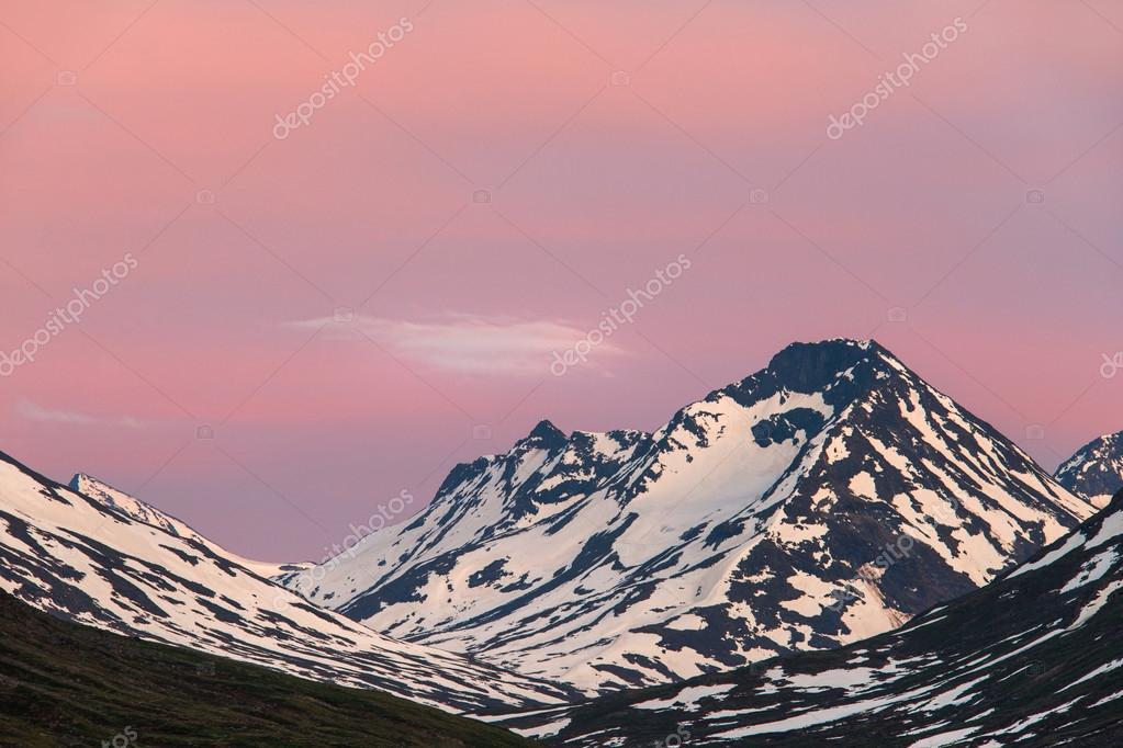 Sunset on Norwegian mountains