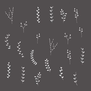 Hand-drawn silhouettes branches graphic design elements set
