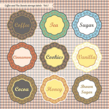 Retro style kitchen sweet food storage tags collection