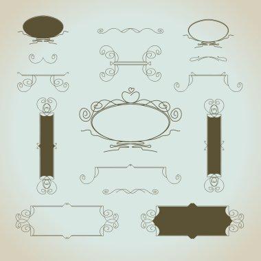 Hand-drawn vintage calligraphic design elements set vector