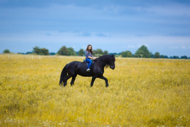 Beautiful young girl riding a horse in countryside