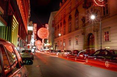 Christmas red light balls on a street