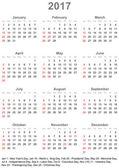 Fotografia Calendario 2017 per Usa - settimana inizia domenica
