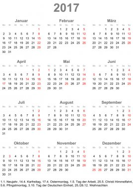 Simple calendar 2017 with public holidays for Germany