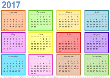 Calendar 2017 with colorful fields per month and holidays USA