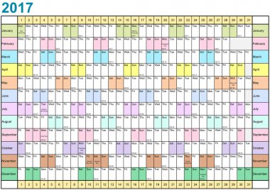 Year Planner 2017 linear each month in different colors