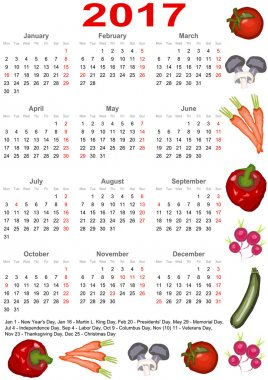 Calendar 2017 for USA with various vegetables