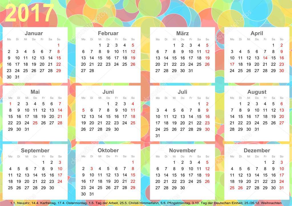 Calendário 2017 fundo círculos coloridos Ger — Stock Photo ...