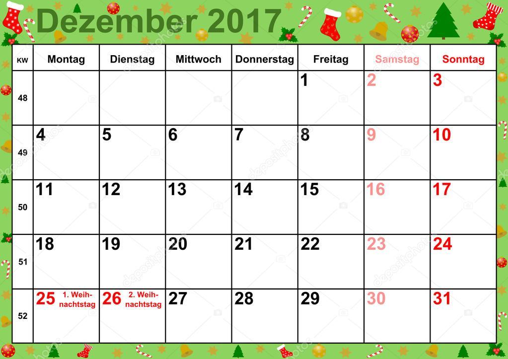 Meses De Calendário 2017 Dezembro Para Alemanha Fotografias De
