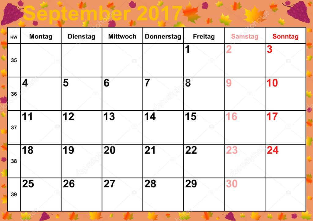 Photography Calendar 2017 : Calendar months september for germany — stock photo