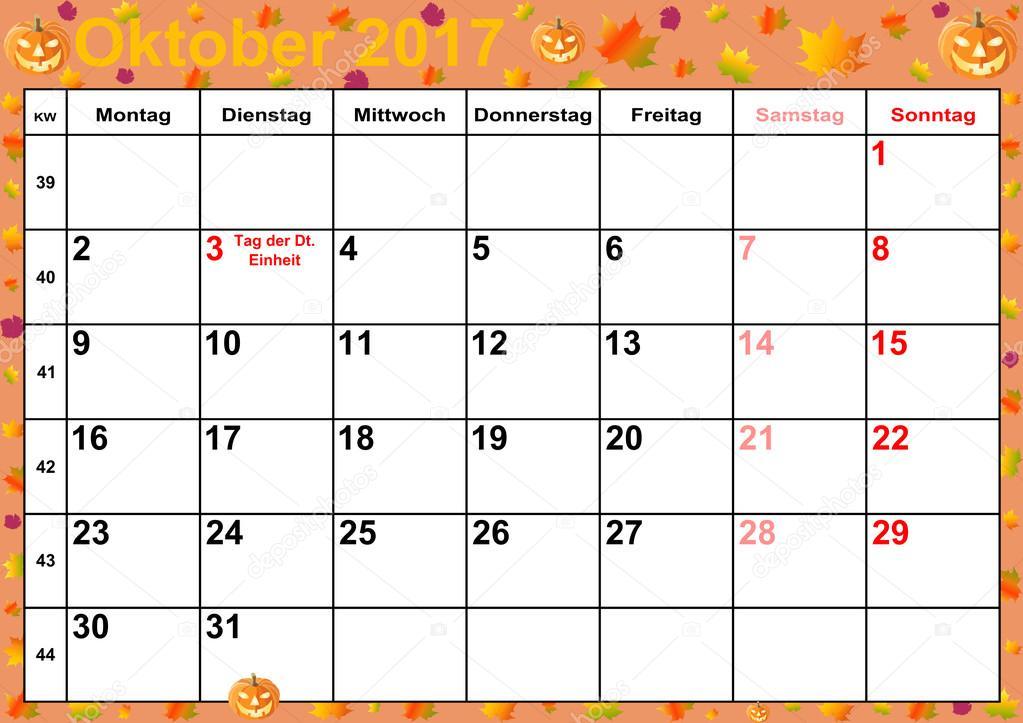 2017 calendrier mois octobre pour l allemagne photographie mkabeck 115746096 - Calendrier lune octobre 2017 ...
