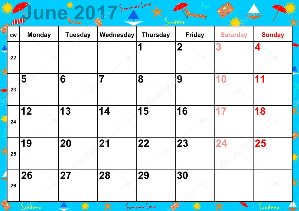 Calendar 2017 Months June For Usa Stock Vector 169 Mkabeck