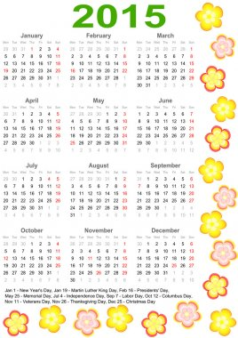 Calendar 2015 USA with holidays and flowers