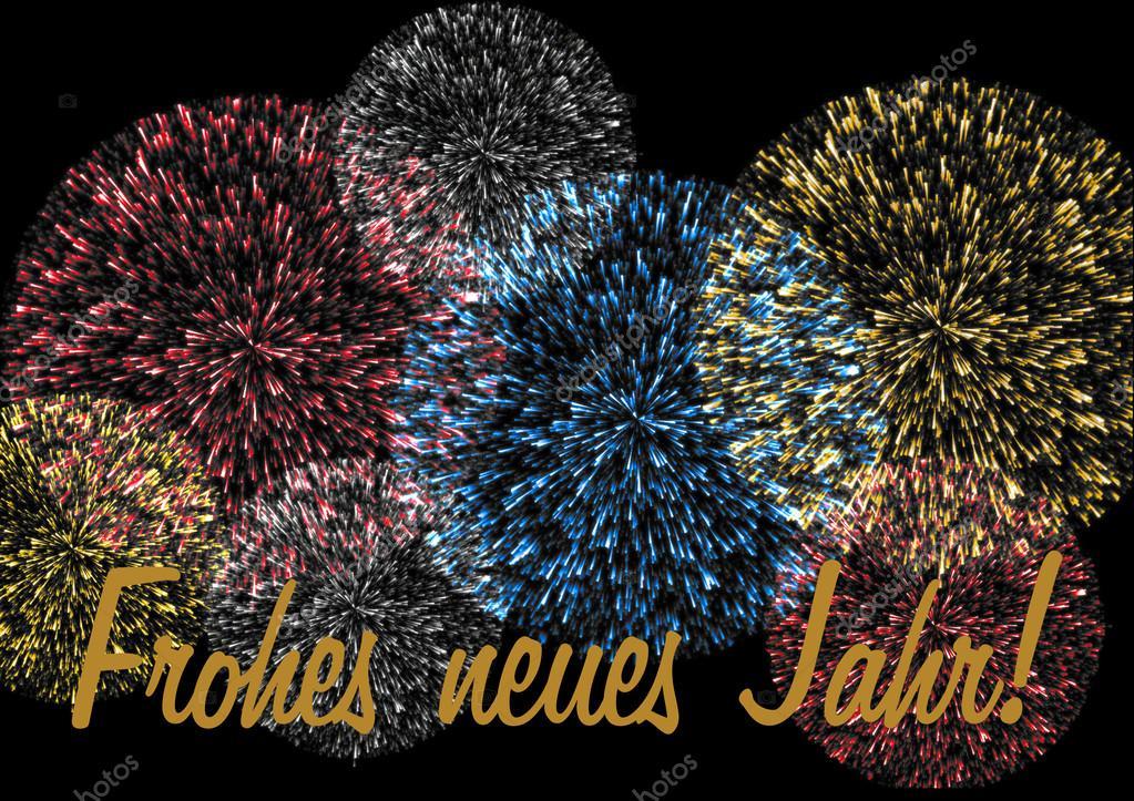Vuurwerk Met Nieuwjaar Wensen Duits Stockfoto C Mkabeck 58376299