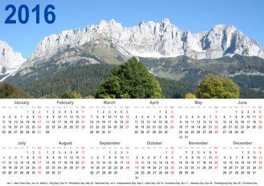 Annual calendar 2016 mountain landscape and holidays USA