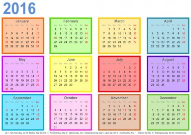 Calendar 2016 with colorful fields per month and holidays USA