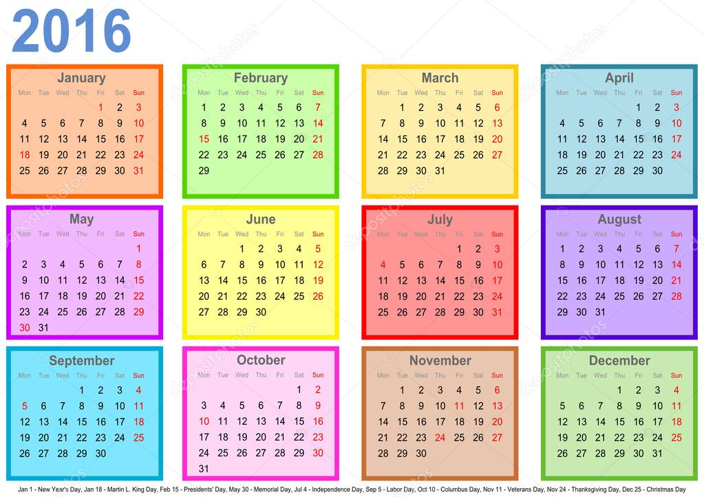 Calendario 2016 Usa.Calendar 2016 With Colorful Fields Per Month And Holidays