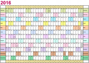 Year Planner 2016 linear each month in different colors