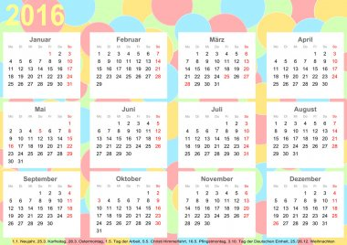 Calendar 2016 background colorful circles Germany
