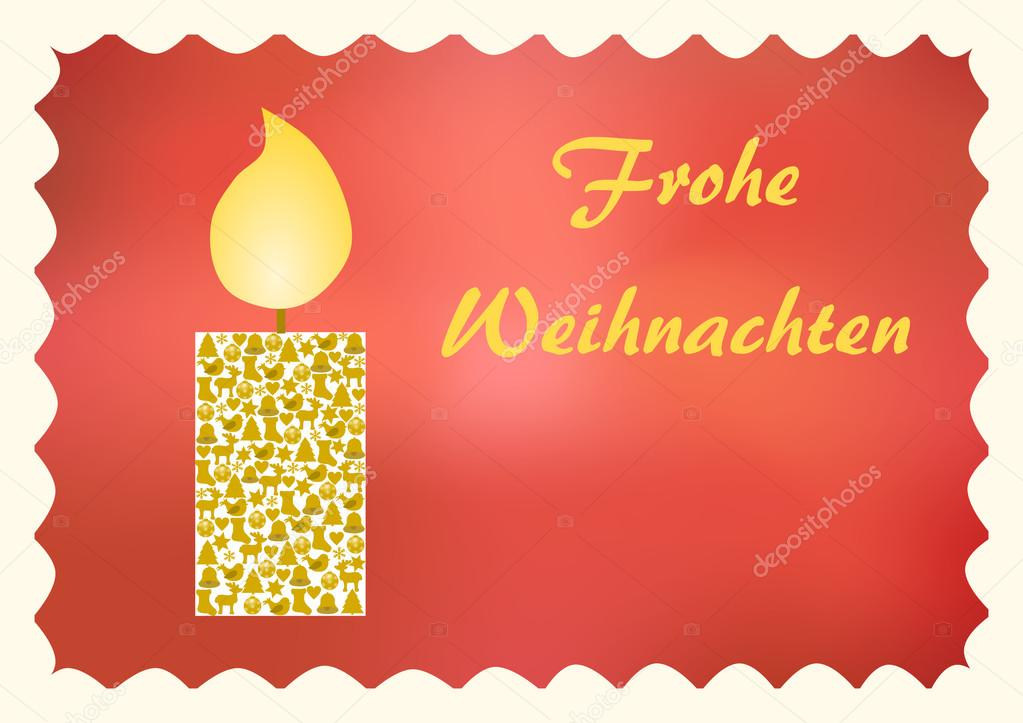 Glowing Candle With Christmas Symbols On Red With German Text