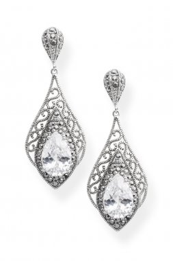 silver earrings with diamond isolated on white