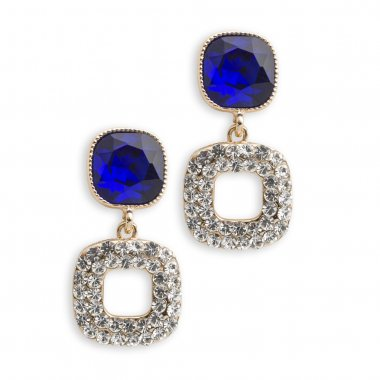 gold earrings with sapphire isolated on white