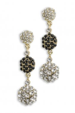 gold earrings with diamonds isolated on white