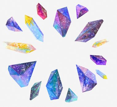 Watercolor crystals with star sky