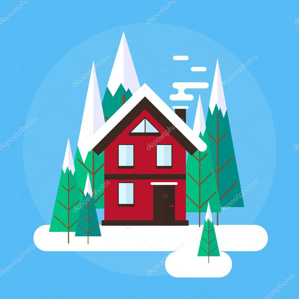 Vector winter landscape. Flat design. Mountains, buildings, trees and snow.