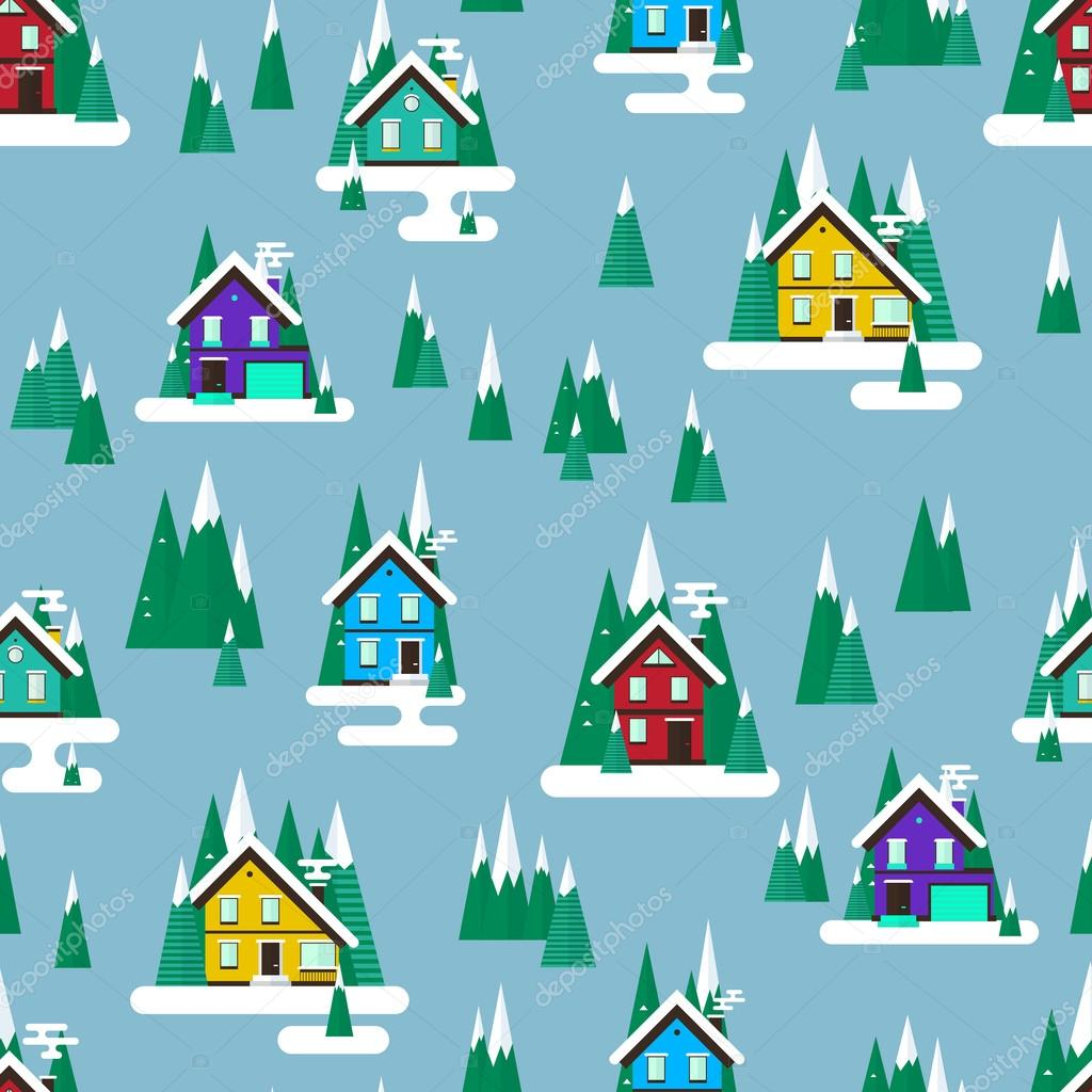 Vector winter landscape. Flat design. Seamless pattern with buildings, trees and snow.