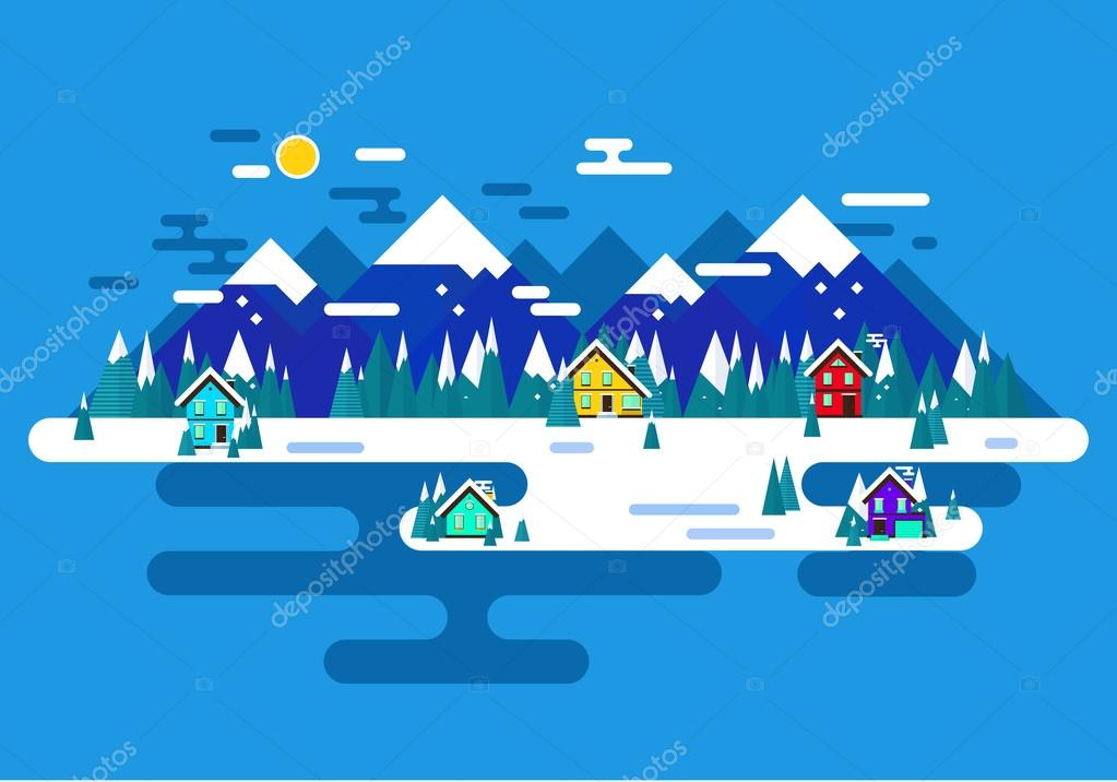 Vector winter landscape. Flat design. Mountains, buildings, tree