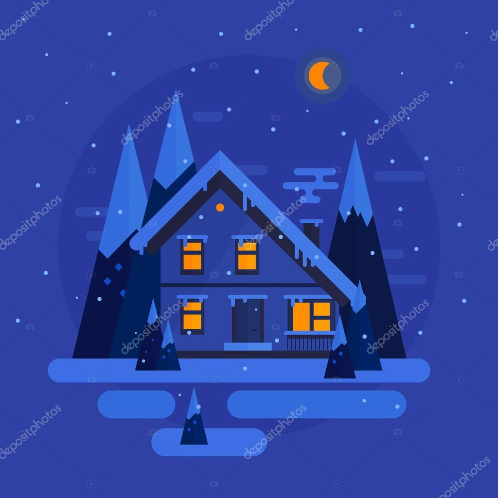 Vector flat design. Winter night with snow, trees, house. illustration