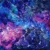 Prostoru ručně malované akvarel zázemí. Kosmické textury s hvězdami. Abstraktní pozadí
