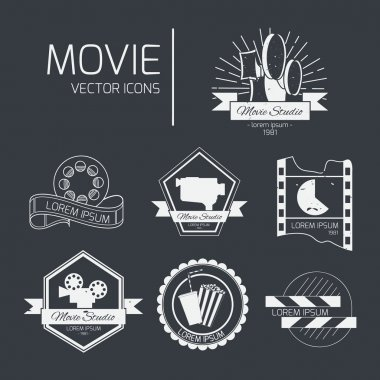 Vector cinema logos and signs