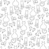 Fotografie Line seamless pattern from cats