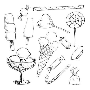 Ice cream and candies
