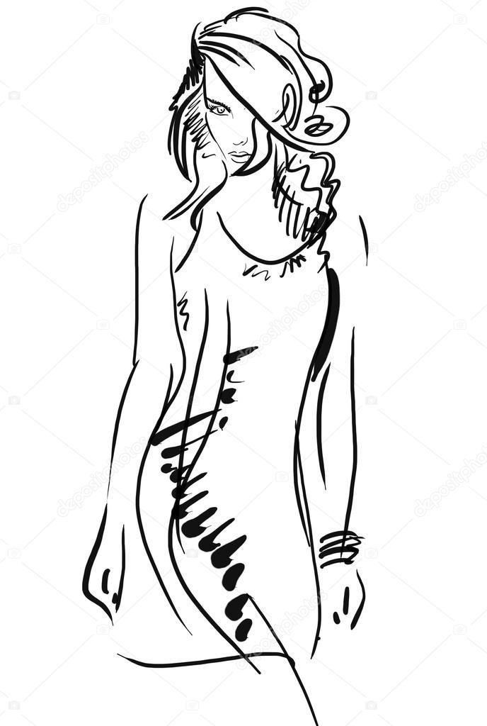 Gráfico, dibujo dibujo a mano. Mujer sexy pose — Fotos de Stock ...